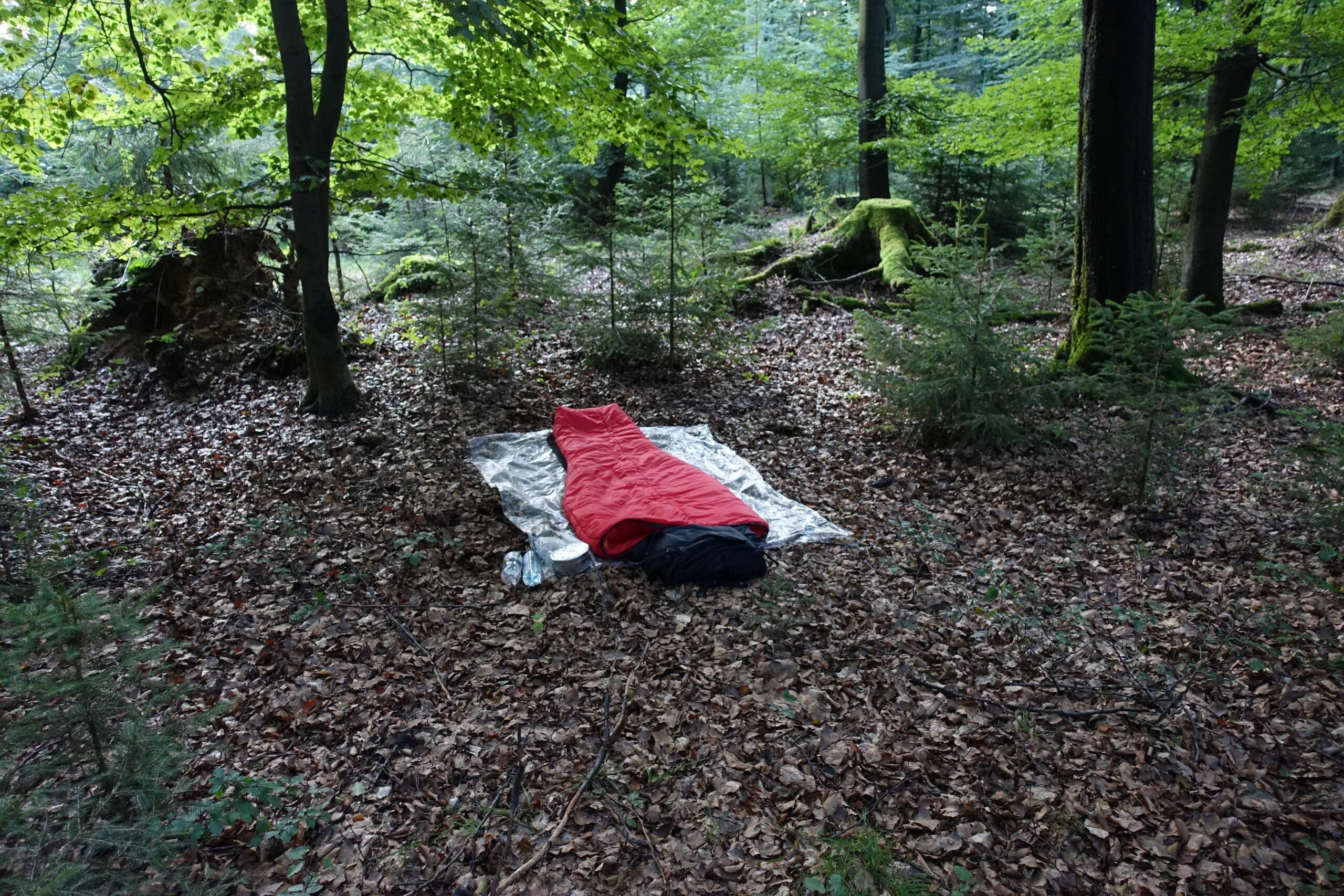 Schlafsack sleepingbag in the woods